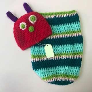 Baby knitted caterpillar costume for newborn