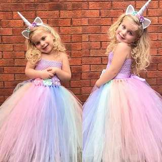Pastel Colored Tutu Dress with Unicorn Headband for Girls