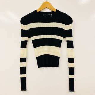 Proenza black and white stripes knit top size M
