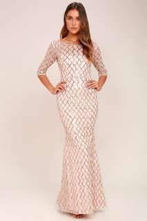 PICK OF THE GLITTER ROSE GOLD SEQUIN MAXI DRESS