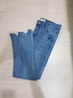 [Instock] Straight Cut High Waist Bell Bottom Denim Jeans