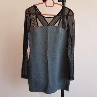 #20under Nichii Bodycon Grey Mesh Dress
