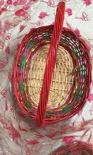 過大禮 大籃 米白底 餘一個 竹籃 椰子籃