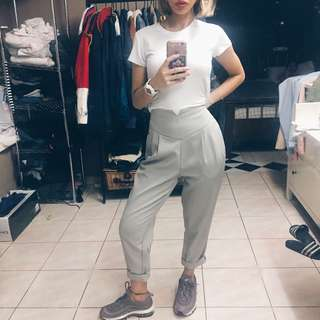 Missguided high waisted grey pants