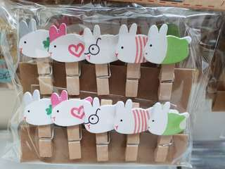 Wooden Pegs | Clips - 9 Cartoon Designs