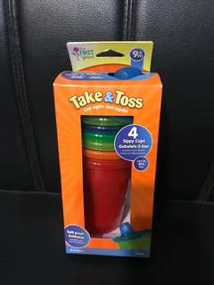Brand New Take 'n' Toss 4 Sippy Cups (296ml)