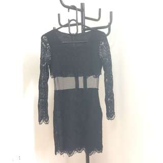 Black lace with sheer mini dress