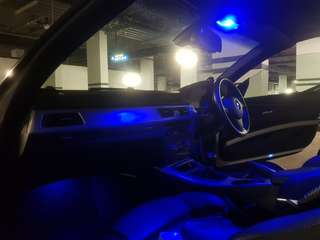 BMW blue LED light upgrade for cabin interior with installation