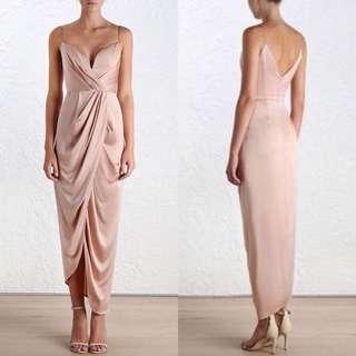 Zimmermann Nude Sueded Silk Dress