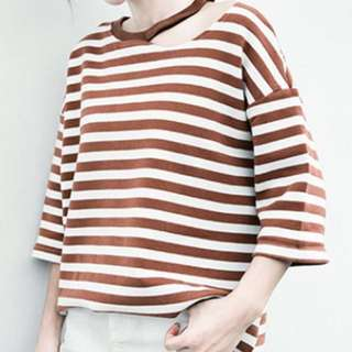 Brown and white Striped Sweater Top