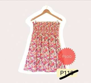 Fire Red Flowery Dress (or Tube Blouse)