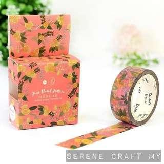 Set of 7m Pink Floral Washi Tape