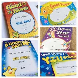 (Instock) Student teacher Motivational Reward Certificate