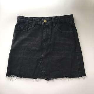 Rok Denim Hitam / Black Denim Skirt