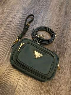 LN Prada canvas pouch in dark green for sales