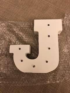Wood letters lighting - J and N/ moon night light