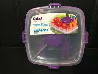 Brand New Sistema Salad Container with Fork & Knife (1.1L)