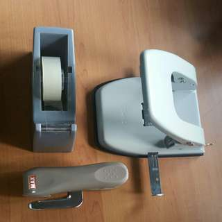 2-hole Puncher, Tape Dispenser and MAX Stapler