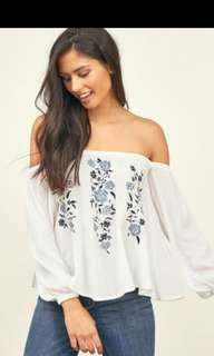BNIB Embroidery Chiffon Off Shoulder Top in White