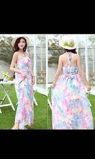 Rainbow pastel paddlepop floral maxi halter beach dress