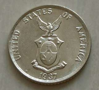 Philippines 1937M 20 Centavos Silver Unc Coin With Luster
