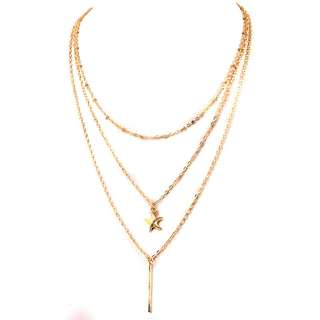 Multilayer Star Pendant Long Chain Necklace Lariat Choker