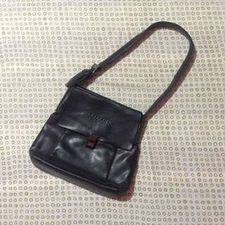 Black leather long shoulder bag