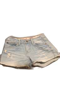牛仔 短褲 褲子 刷破