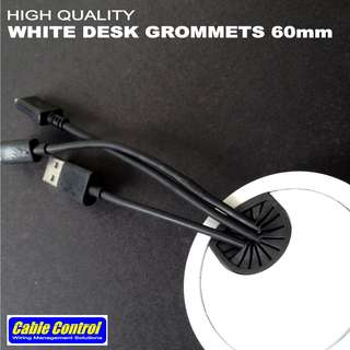 Cable Control White Desk Grommets 60mm