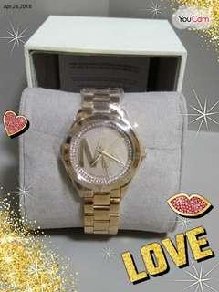 🎀 MK Woman's Mini Runway Crystal Glitz Blair Roase Gold Watch