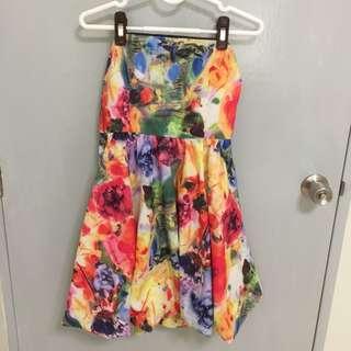 Rainbow Floral Tube Dress