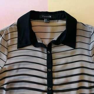 Forever 21 Beige & Black Stripes Long Sleeves