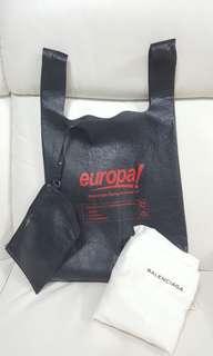 Balenciaga Supermarket Shopper Slogan Print Medium Leather Tote Bag