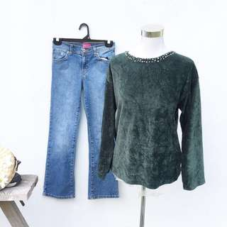 1 Set Blouse + Jeans