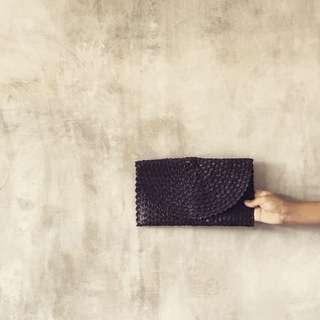 Balinese Black Handmade Rattan Envelope Clutch Purse Bag