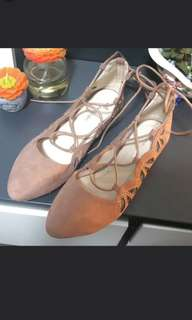 NEW Valleygirl Nude Flats (Tie up lace)
