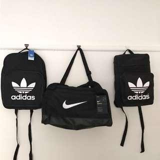2017 Adidas/ Nike black sport gym bags/ backpacks