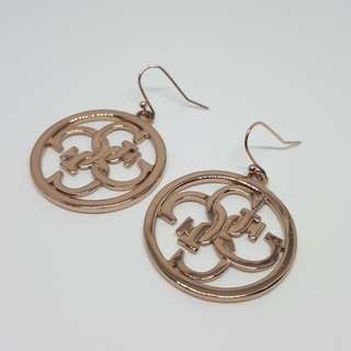 Authentic Guess Earrings Jewellery Hoops Gold Plated Hook-on