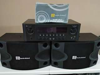 Martin Rowland Amplifier system c/w a pair of Martin Rowland speaker and bracket