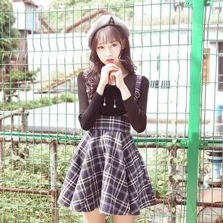 背带裙学生高腰a字蓬蓬半身裙短裙