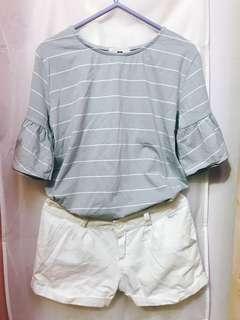 天藍橫間Tee+ 白色短褲 (Sky blue stripe tee + white shorts)