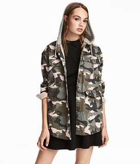 H&M Camo Jacket With Hood Outerwear