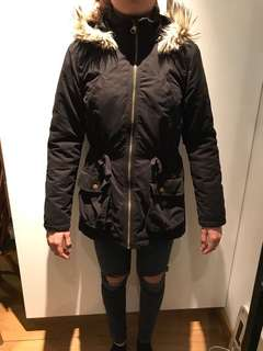 H&M girls size 14A+ parka with faux fur hood