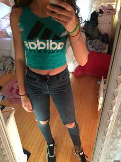 Teal adidas crop top