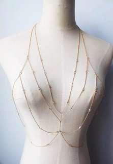 Ladies Elegant Multi-Layer Layered Golden Body Chain Necklace