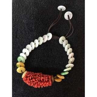 珊瑚翡翠手串