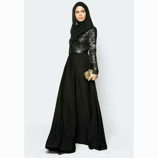 Zalia Embroidered Black Maxi Dress