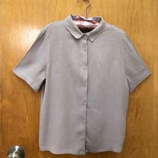 韓牌-淺灰紫有領短袖上衣 light grey purple collar top