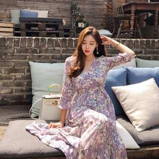 韓國直送印花連身裙