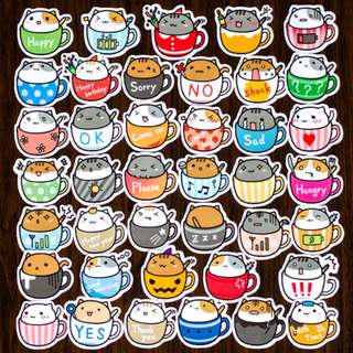 <INSTOCK> Cat In Cup Stickers